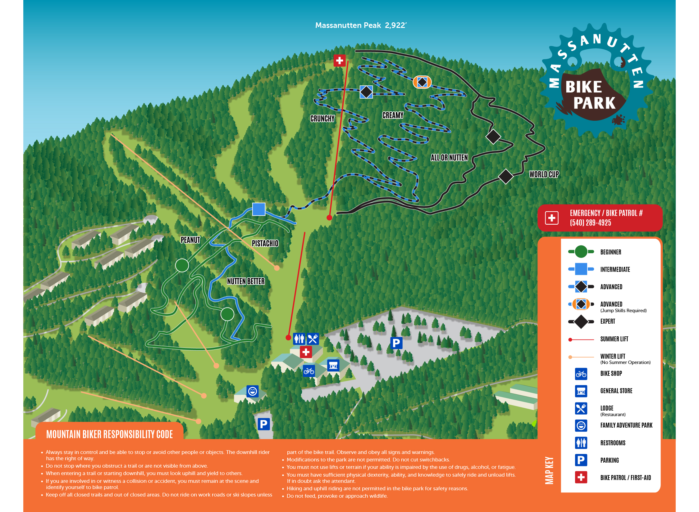 Massanutten Bike Park Map